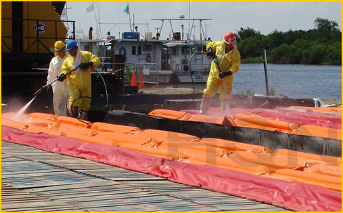 secondary containment berms for onsite decontamination emergency events in Canada